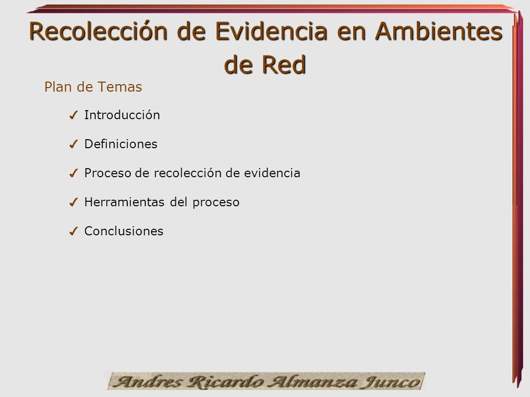 Recolección de Evidencia en Ambientes de Red Plan de Temas Introducción Definiciones Proceso de recolección de evidencia Herramientas del proceso Conc