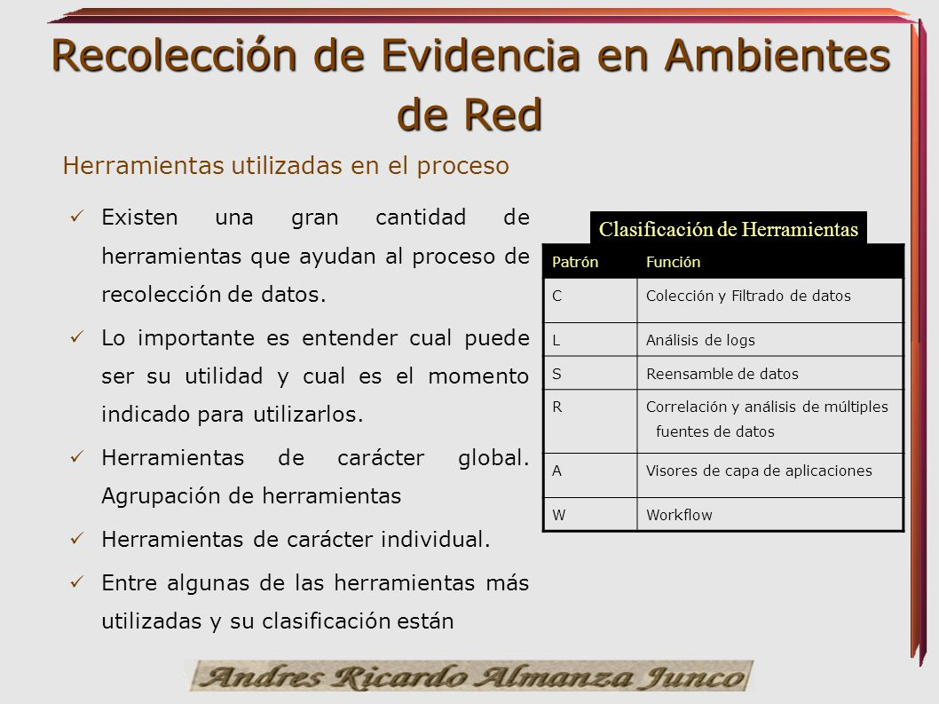 Recolección de Evidencia en Ambientes de Red Herramientas utilizadas en el proceso Existen una gran cantidad de herramientas que ayudan al proceso de
