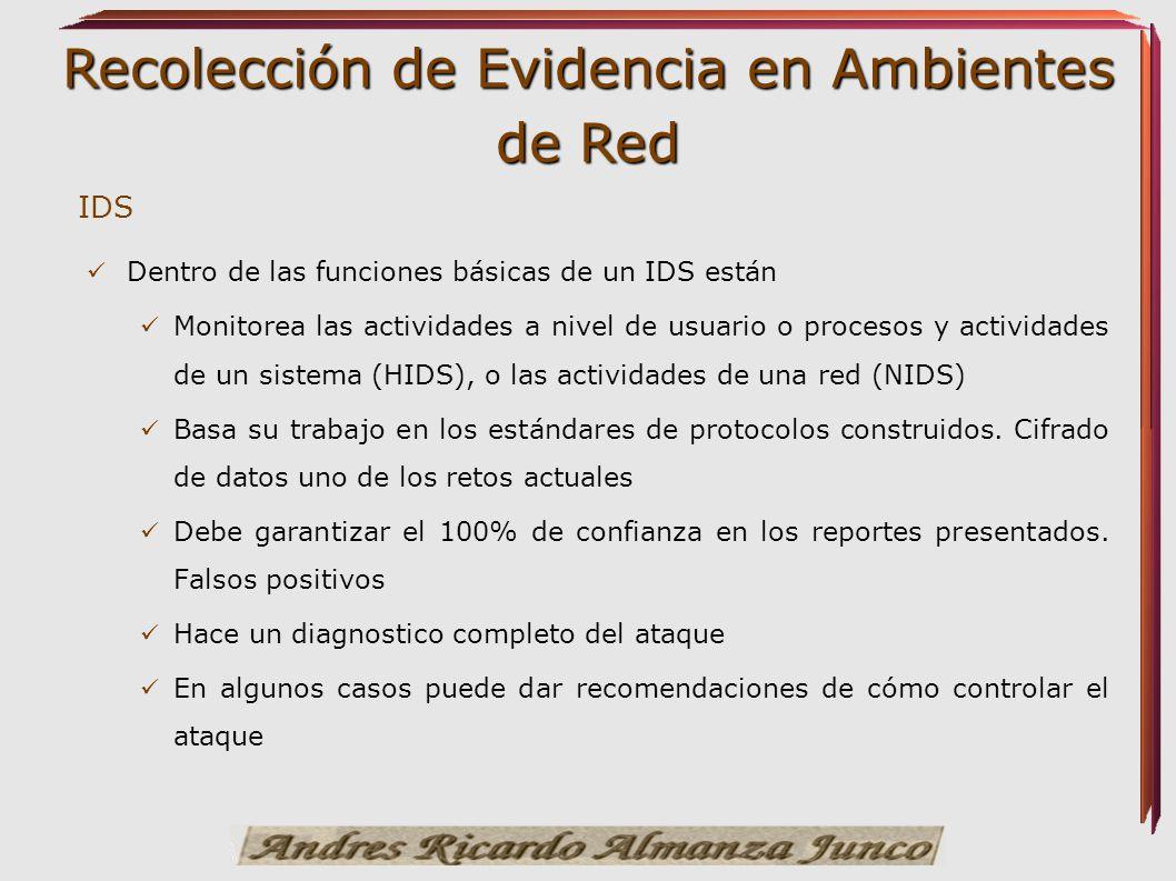 Recolección de Evidencia en Ambientes de Red IDS Dentro de las funciones básicas de un IDS están Monitorea las actividades a nivel de usuario o proces