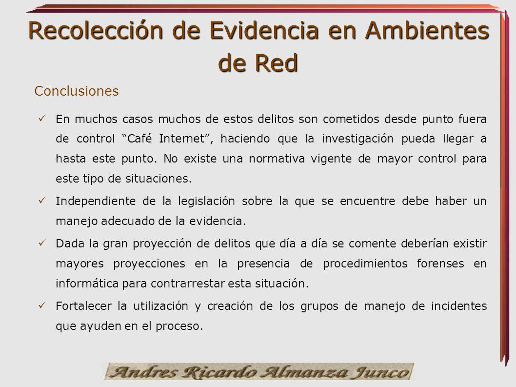 Recolección de Evidencia en Ambientes de Red Conclusiones En muchos casos muchos de estos delitos son cometidos desde punto fuera de control Café Inte