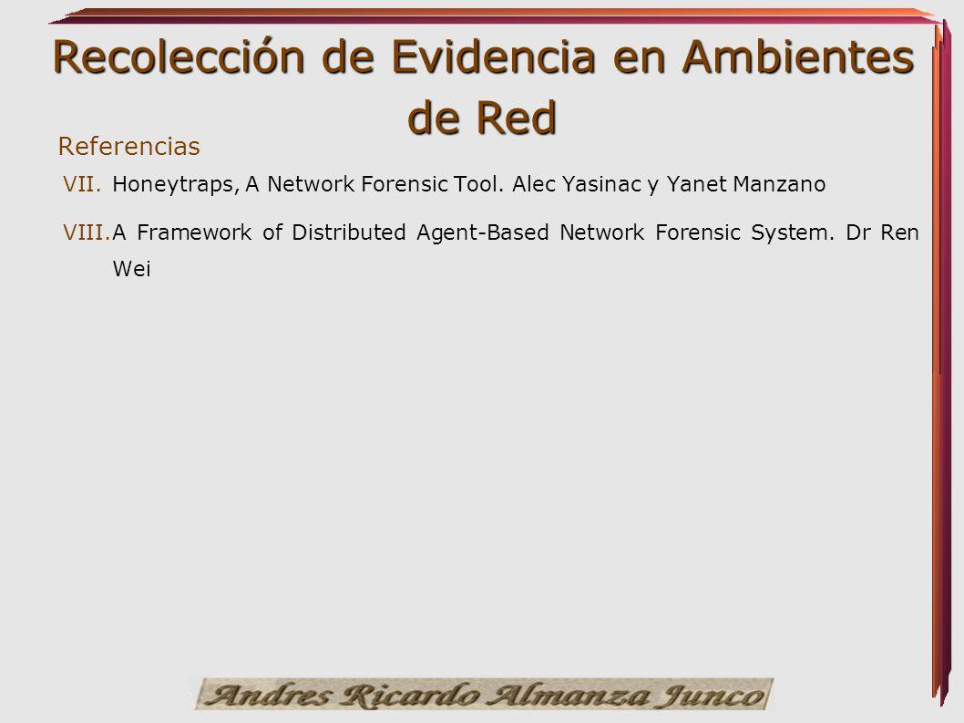 Recolección de Evidencia en Ambientes de Red VII. VII.Honeytraps, A Network Forensic Tool. Alec Yasinac y Yanet Manzano VIII. VIII.A Framework of Dist