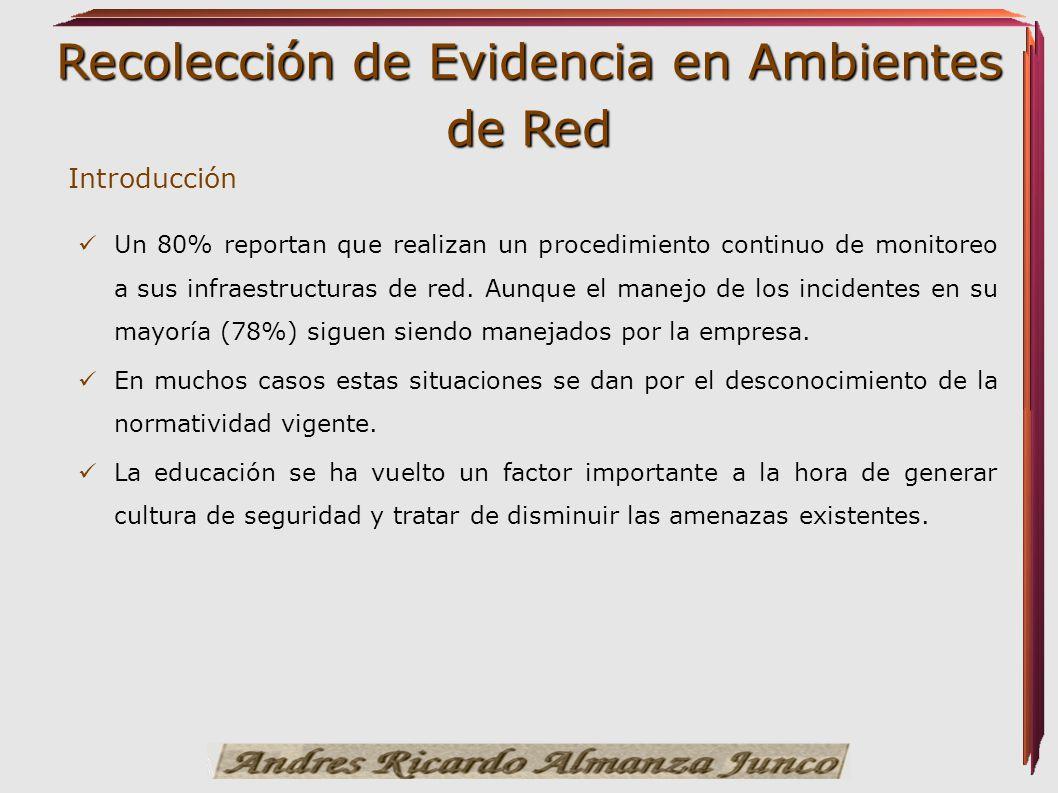 Recolección de Evidencia en Ambientes de Red Un 80% reportan que realizan un procedimiento continuo de monitoreo a sus infraestructuras de red. Aunque