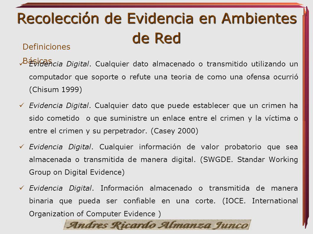 Recolección de Evidencia en Ambientes de Red Definiciones Básicas Evidencia Digital. Cualquier dato almacenado o transmitido utilizando un computador