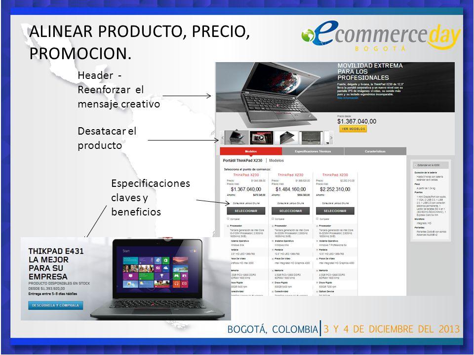 Header - Reenforzar el mensaje creativo, Desatacar el producto, Especificaciones claves y beneficios ALINEAR PRODUCTO, PRECIO, PROMOCION.