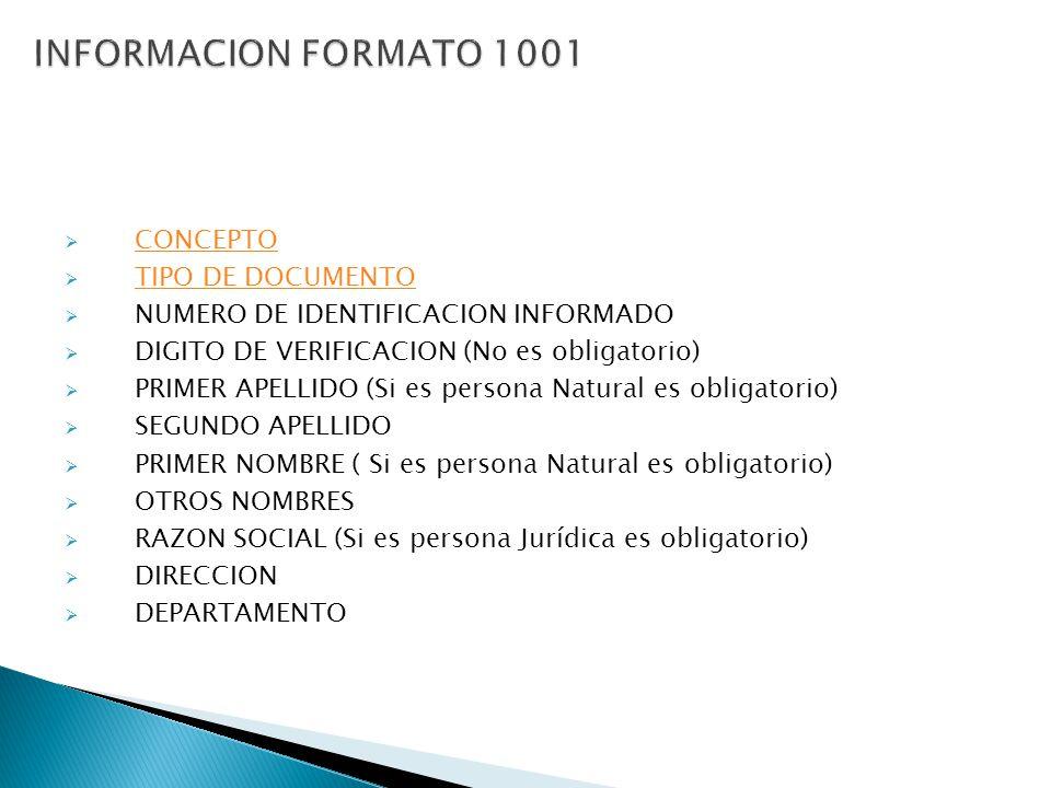 CONCEPTO TIPO DE DOCUMENTO NUMERO DE IDENTIFICACION INFORMADO DIGITO DE VERIFICACION (No es obligatorio) PRIMER APELLIDO (Si es persona Natural es obl