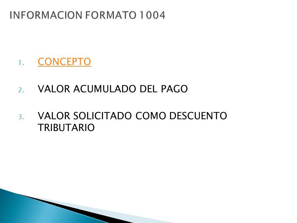 1. CONCEPTO CONCEPTO 2. VALOR ACUMULADO DEL PAGO 3. VALOR SOLICITADO COMO DESCUENTO TRIBUTARIO
