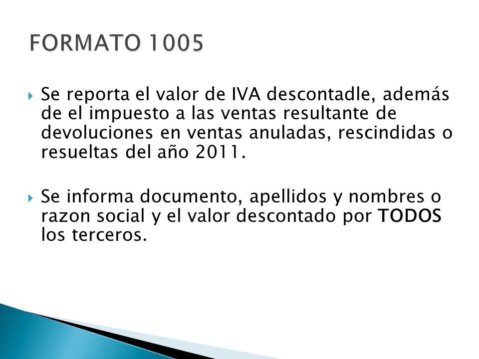 Se reporta el valor de IVA descontadle, además de el impuesto a las ventas resultante de devoluciones en ventas anuladas, rescindidas o resueltas del