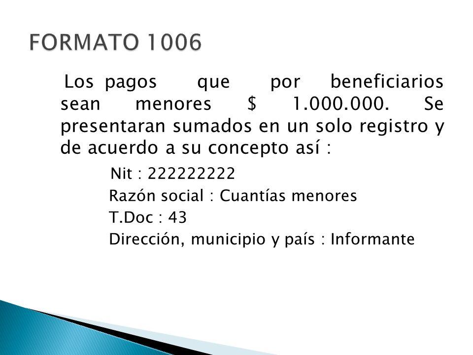 Los pagos que por beneficiarios sean menores $ 1.000.000. Se presentaran sumados en un solo registro y de acuerdo a su concepto así : Nit : 222222222