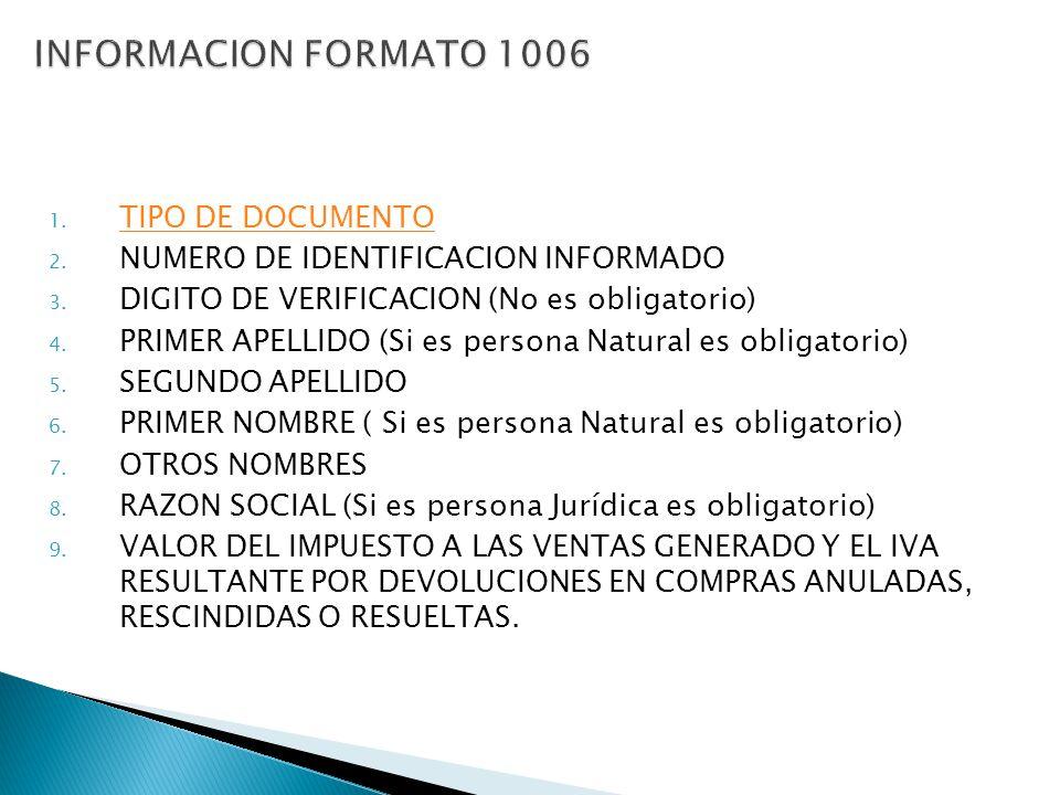 1. TIPO DE DOCUMENTO TIPO DE DOCUMENTO 2. NUMERO DE IDENTIFICACION INFORMADO 3. DIGITO DE VERIFICACION (No es obligatorio) 4. PRIMER APELLIDO (Si es p