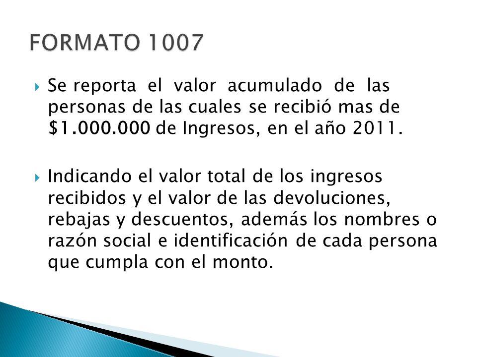 Se reporta el valor acumulado de las personas de las cuales se recibió mas de $1.000.000 de Ingresos, en el año 2011. Indicando el valor total de los