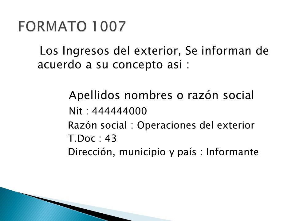 Los Ingresos del exterior, Se informan de acuerdo a su concepto asi : Apellidos nombres o razón social Nit : 444444000 Razón social : Operaciones del
