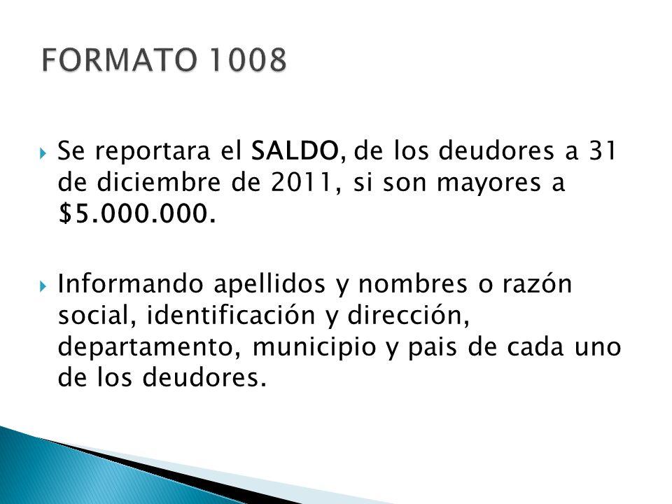 Se reportara el SALDO, de los deudores a 31 de diciembre de 2011, si son mayores a $5.000.000. Informando apellidos y nombres o razón social, identifi