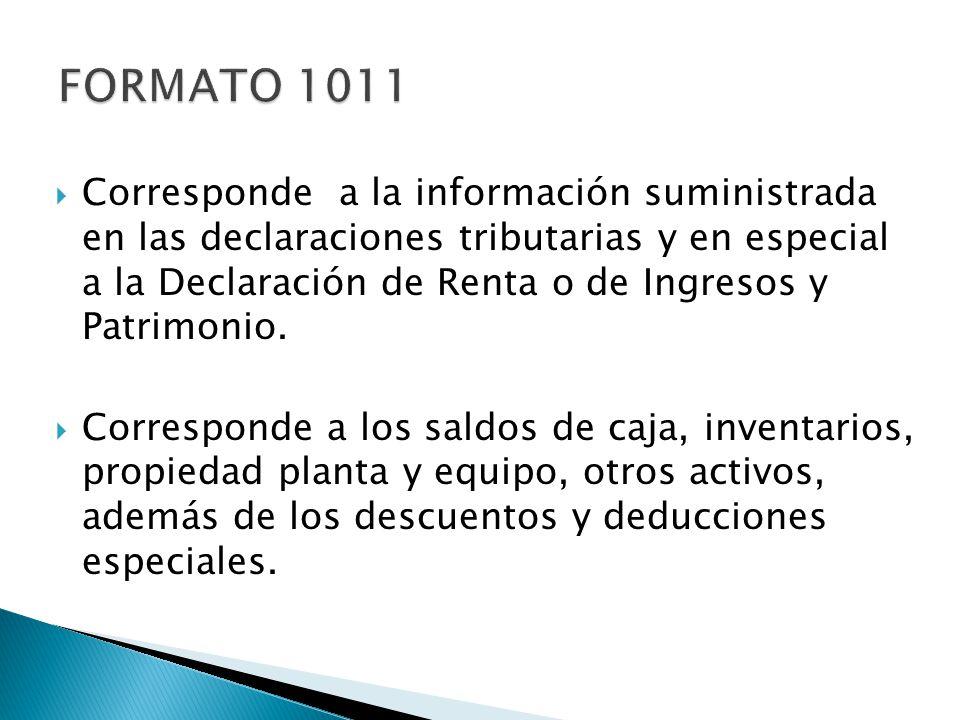 Corresponde a la información suministrada en las declaraciones tributarias y en especial a la Declaración de Renta o de Ingresos y Patrimonio. Corresp