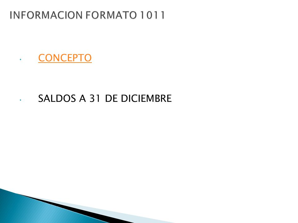 CONCEPTO SALDOS A 31 DE DICIEMBRE