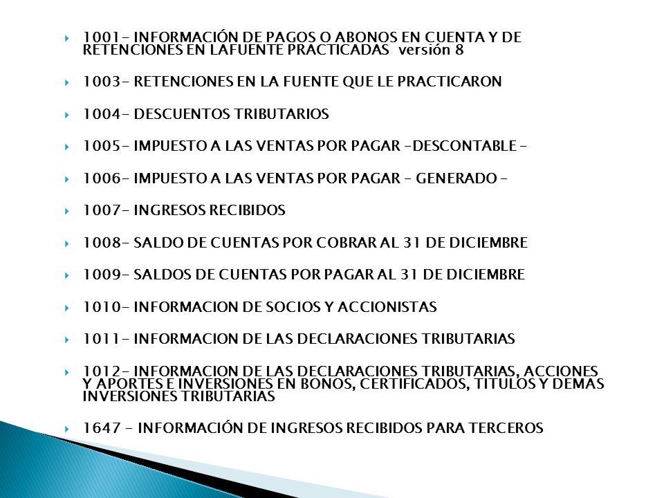 1001- INFORMACIÓN DE PAGOS O ABONOS EN CUENTA Y DE RETENCIONES EN LAFUENTE PRACTICADAS versión 8 1003- RETENCIONES EN LA FUENTE QUE LE PRACTICARON 100