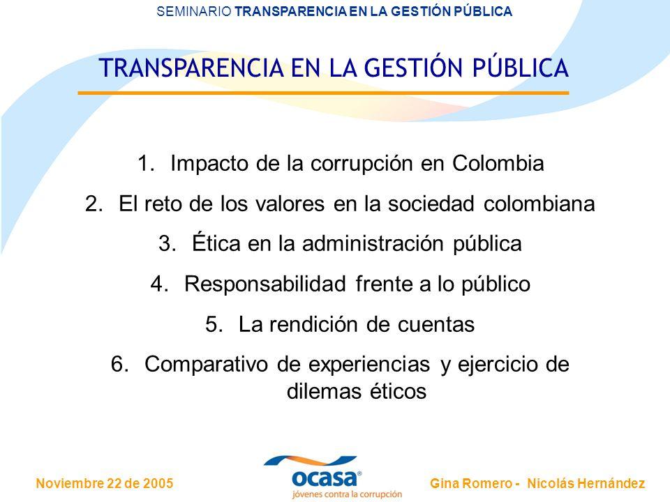 Noviembre 22 de 2005 SEMINARIO TRANSPARENCIA EN LA GESTIÓN PÚBLICA Gina Romero - Nicolás Hernández TRANSPARENCIA EN LA GESTIÓN PÚBLICA 1.Impacto de la corrupción en Colombia 2.El reto de los valores en la sociedad colombiana 3.Ética en la administración pública 4.Responsabilidad frente a lo público 5.La rendición de cuentas 6.Comparativo de experiencias y ejercicio de dilemas éticos