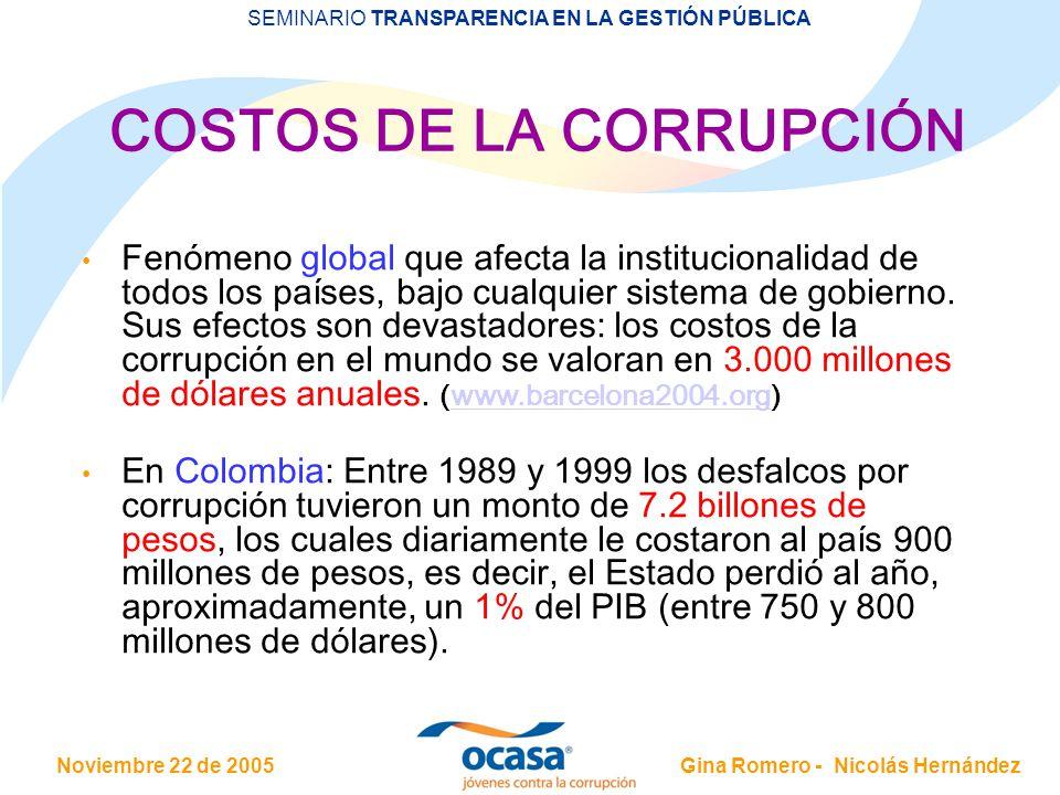 Noviembre 22 de 2005 SEMINARIO TRANSPARENCIA EN LA GESTIÓN PÚBLICA Gina Romero - Nicolás Hernández COSTOS DE LA CORRUPCIÓN Fenómeno global que afecta la institucionalidad de todos los países, bajo cualquier sistema de gobierno.