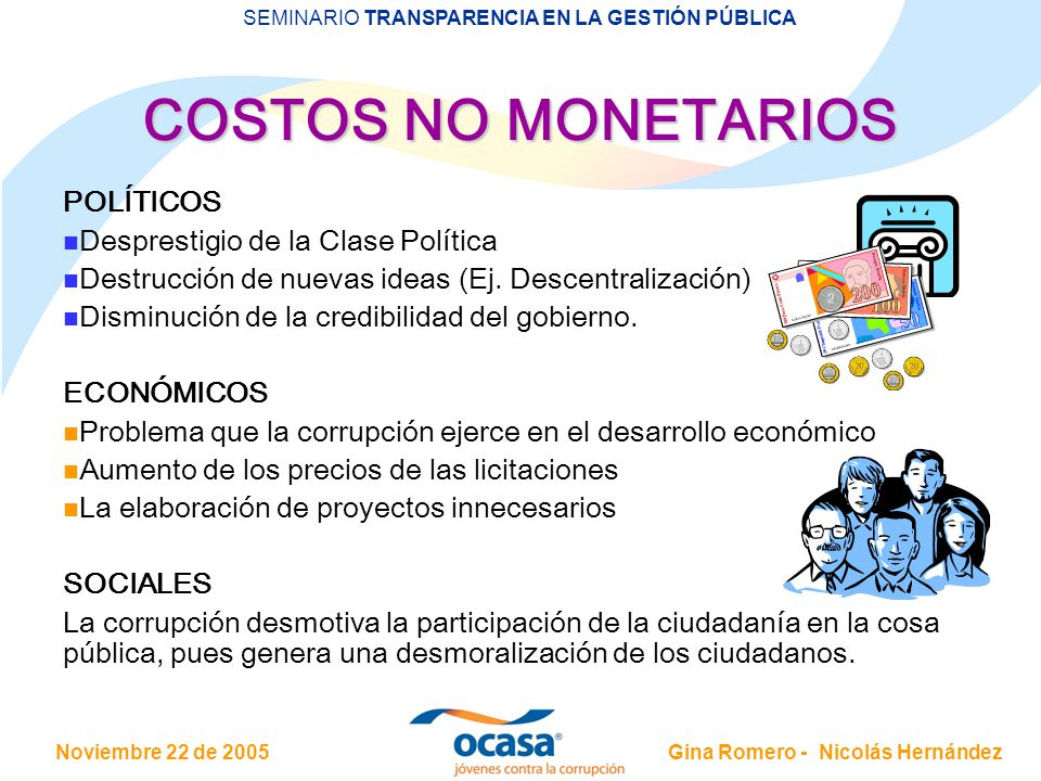 Noviembre 22 de 2005 SEMINARIO TRANSPARENCIA EN LA GESTIÓN PÚBLICA Gina Romero - Nicolás Hernández COSTOS NO MONETARIOS COSTOS NO MONETARIOS POLÍTICOS
