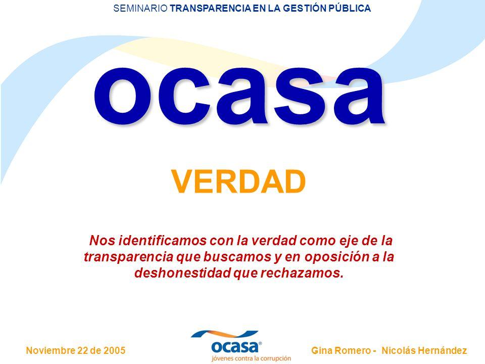 Noviembre 22 de 2005 SEMINARIO TRANSPARENCIA EN LA GESTIÓN PÚBLICA Gina Romero - Nicolás Hernández Nos identificamos con la verdad como eje de la transparencia que buscamos y en oposición a la deshonestidad que rechazamos.