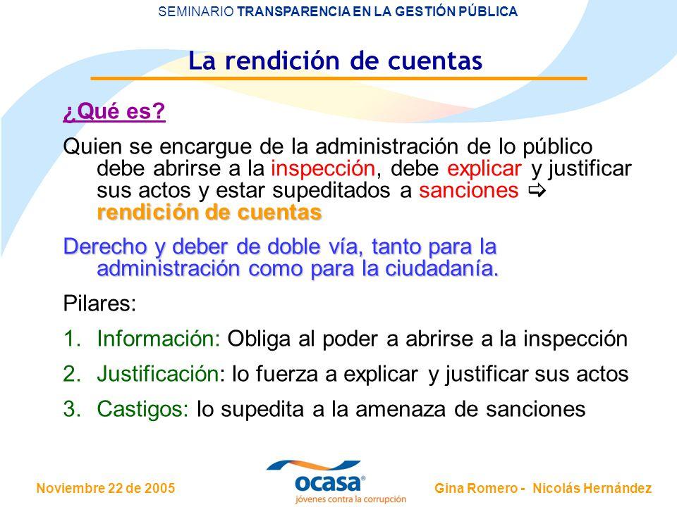 Noviembre 22 de 2005 SEMINARIO TRANSPARENCIA EN LA GESTIÓN PÚBLICA Gina Romero - Nicolás Hernández La rendición de cuentas ¿Qué es? rendición de cuent