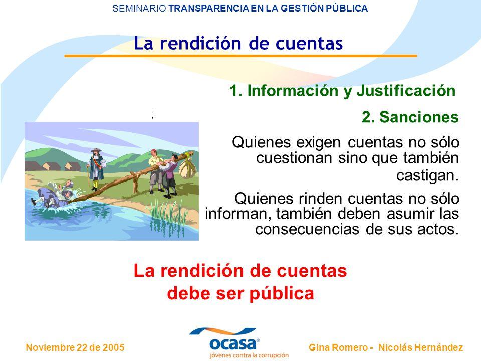 Noviembre 22 de 2005 SEMINARIO TRANSPARENCIA EN LA GESTIÓN PÚBLICA Gina Romero - Nicolás Hernández La rendición de cuentas 1. Información y Justificac