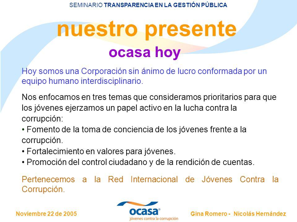 Noviembre 22 de 2005 SEMINARIO TRANSPARENCIA EN LA GESTIÓN PÚBLICA Gina Romero - Nicolás Hernández Balance: positivo PROYECTOS EXITOSOS Foro Jóvenes Frente a la corrupción-Abramos el Debate: 3 de Noviembre de 2004.