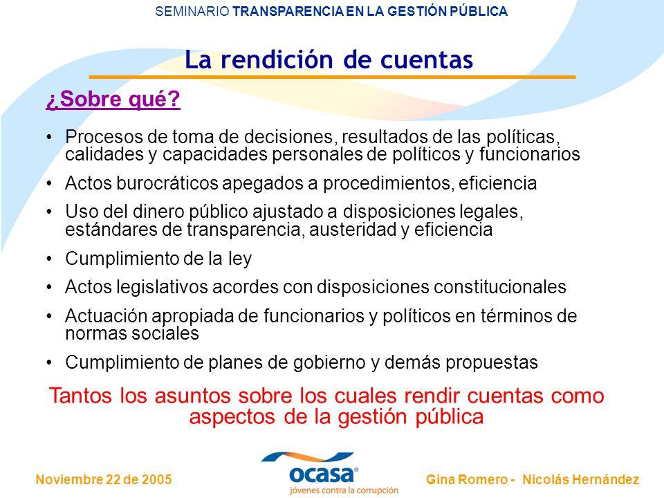 Noviembre 22 de 2005 SEMINARIO TRANSPARENCIA EN LA GESTIÓN PÚBLICA Gina Romero - Nicolás Hernández La rendición de cuentas ¿Sobre qué.