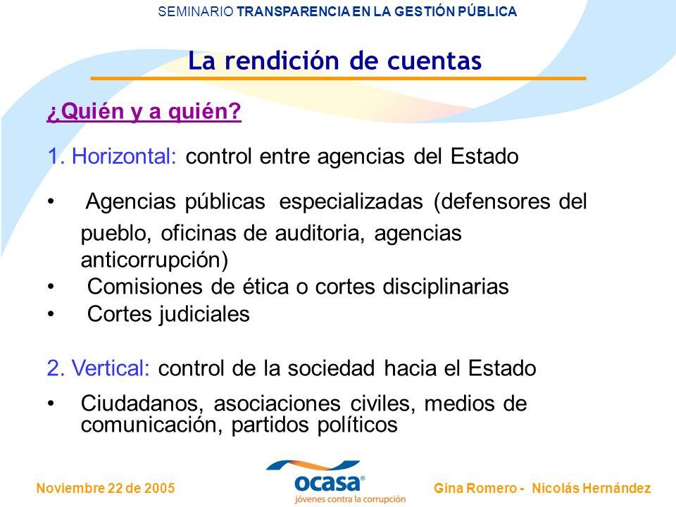 Noviembre 22 de 2005 SEMINARIO TRANSPARENCIA EN LA GESTIÓN PÚBLICA Gina Romero - Nicolás Hernández La rendición de cuentas ¿Quién y a quién.
