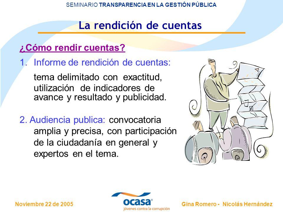 Noviembre 22 de 2005 SEMINARIO TRANSPARENCIA EN LA GESTIÓN PÚBLICA Gina Romero - Nicolás Hernández La rendición de cuentas ¿Cómo rendir cuentas? 1.Inf