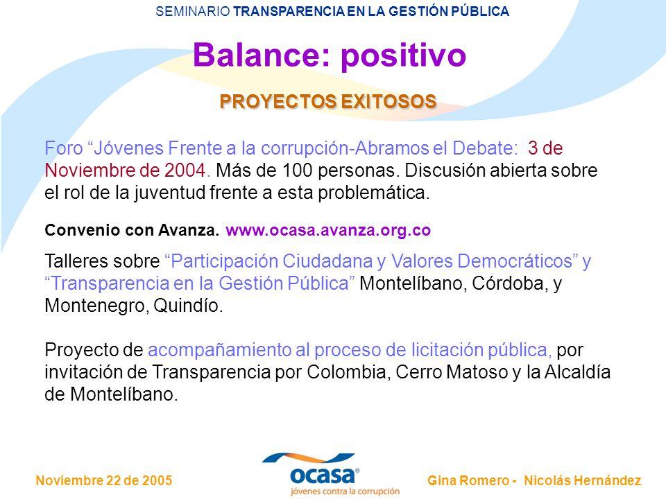 Noviembre 22 de 2005 SEMINARIO TRANSPARENCIA EN LA GESTIÓN PÚBLICA Gina Romero - Nicolás Hernández Balance: positivo PROYECTOS EXITOSOS Foro Jóvenes F