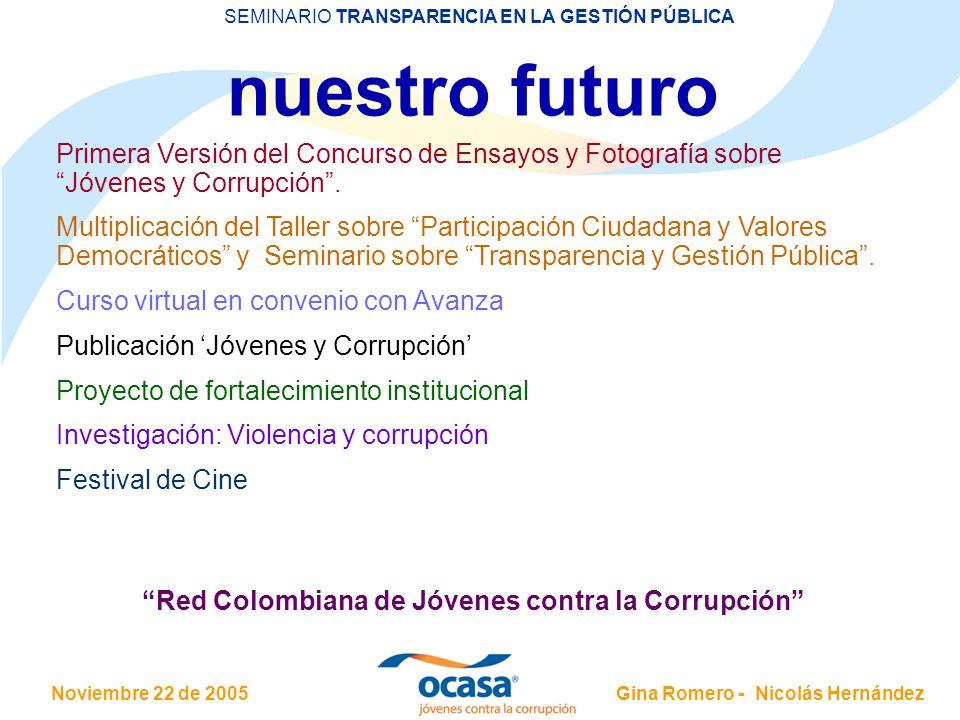 Noviembre 22 de 2005 SEMINARIO TRANSPARENCIA EN LA GESTIÓN PÚBLICA Gina Romero - Nicolás Hernández IPC - 2005 Mejoría con respecto al año pasado: 3.8 – puesto 60 COLOMBIA 4.0