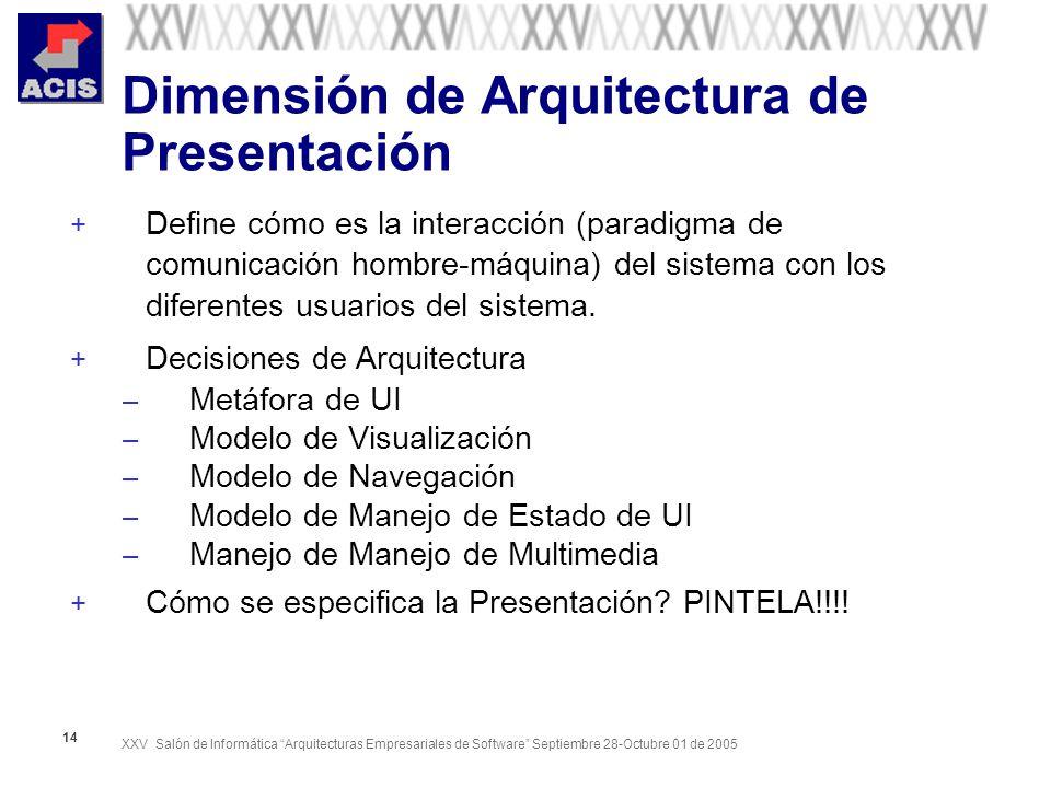 XXV Salón de Informática Arquitecturas Empresariales de Software Septiembre 28-Octubre 01 de 2005 14 Dimensión de Arquitectura de Presentación + Define cómo es la interacción (paradigma de comunicación hombre-máquina) del sistema con los diferentes usuarios del sistema.