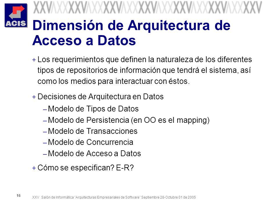 XXV Salón de Informática Arquitecturas Empresariales de Software Septiembre 28-Octubre 01 de 2005 16 Dimensión de Arquitectura de Acceso a Datos + Los requerimientos que definen la naturaleza de los diferentes tipos de repositorios de información que tendrá el sistema, así como los medios para interactuar con éstos.