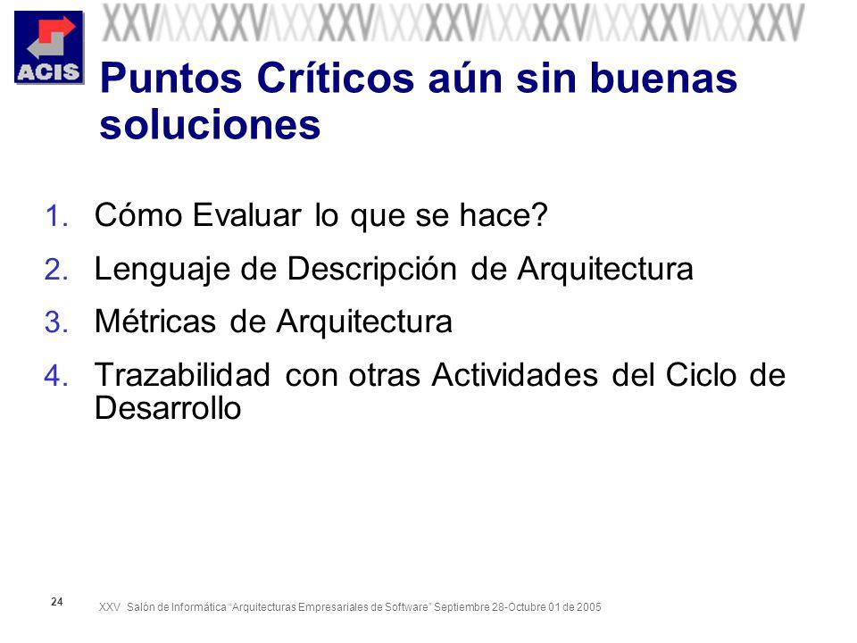 XXV Salón de Informática Arquitecturas Empresariales de Software Septiembre 28-Octubre 01 de 2005 24 Puntos Críticos aún sin buenas soluciones 1.