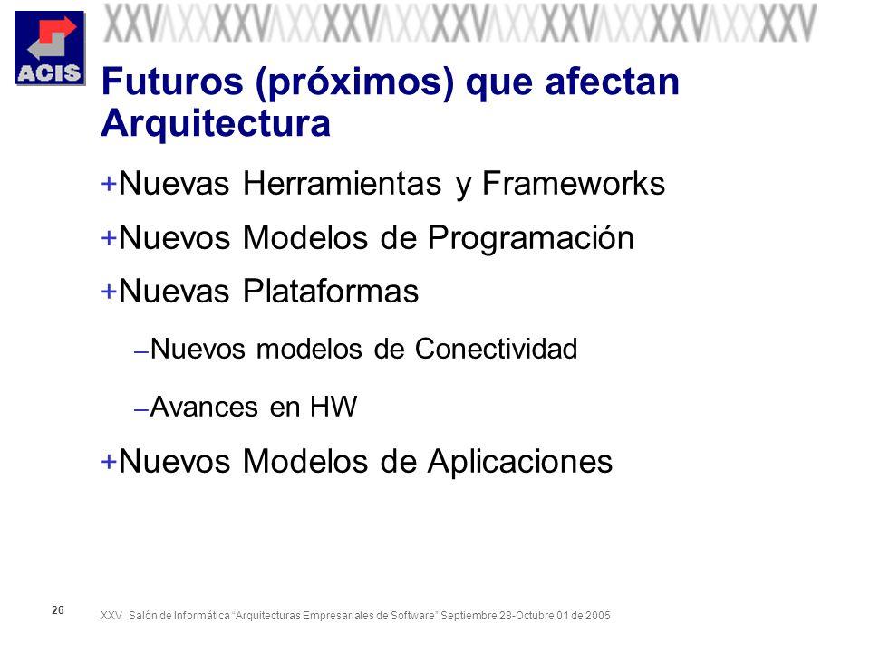 XXV Salón de Informática Arquitecturas Empresariales de Software Septiembre 28-Octubre 01 de 2005 26 Futuros (próximos) que afectan Arquitectura + Nuevas Herramientas y Frameworks + Nuevos Modelos de Programación + Nuevas Plataformas – Nuevos modelos de Conectividad – Avances en HW + Nuevos Modelos de Aplicaciones