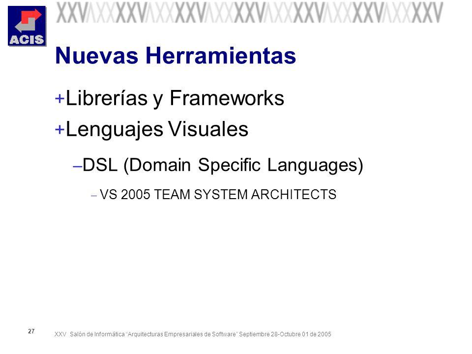 XXV Salón de Informática Arquitecturas Empresariales de Software Septiembre 28-Octubre 01 de 2005 27 Nuevas Herramientas + Librerías y Frameworks + Lenguajes Visuales – DSL (Domain Specific Languages) VS 2005 TEAM SYSTEM ARCHITECTS