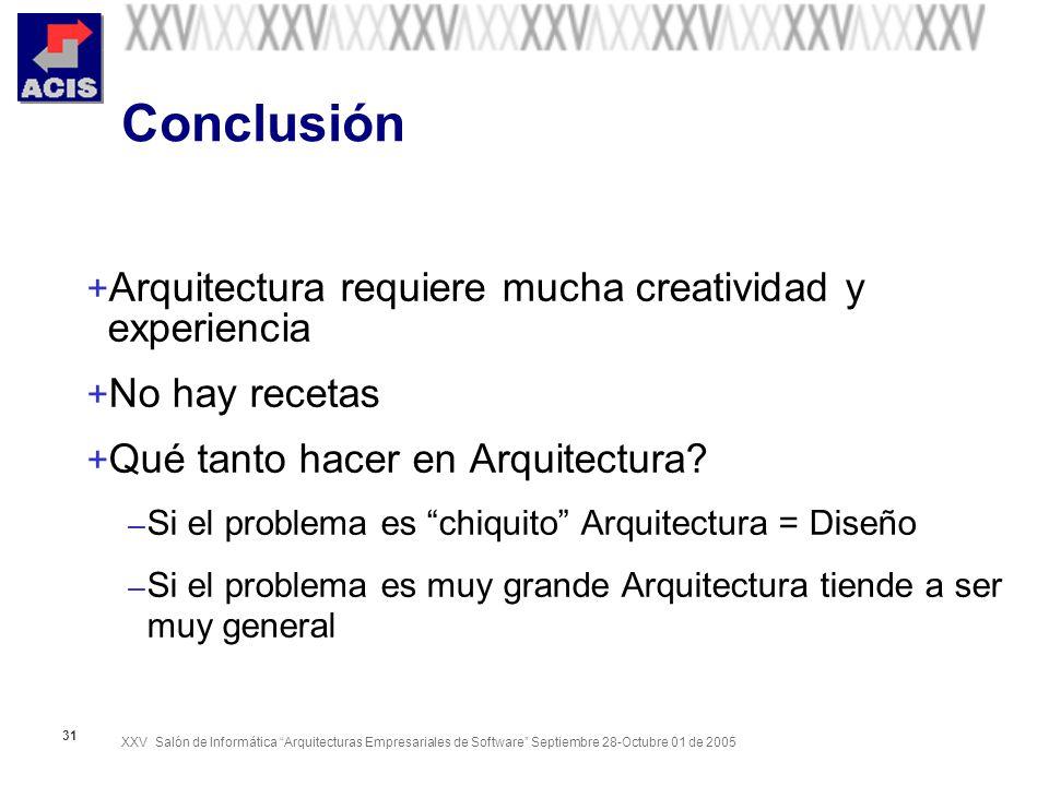 XXV Salón de Informática Arquitecturas Empresariales de Software Septiembre 28-Octubre 01 de 2005 31 Conclusión + Arquitectura requiere mucha creatividad y experiencia + No hay recetas + Qué tanto hacer en Arquitectura.