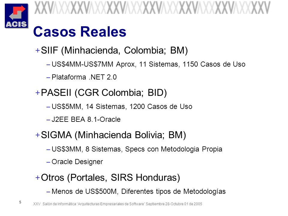 XXV Salón de Informática Arquitecturas Empresariales de Software Septiembre 28-Octubre 01 de 2005 5 Casos Reales + SIIF (Minhacienda, Colombia; BM) – US$4MM-US$7MM Aprox, 11 Sistemas, 1150 Casos de Uso – Plataforma.NET 2.0 + PASEII (CGR Colombia; BID) – US$5MM, 14 Sistemas, 1200 Casos de Uso – J2EE BEA 8.1-Oracle + SIGMA (Minhacienda Bolivia; BM) – US$3MM, 8 Sistemas, Specs con Metodologia Propia – Oracle Designer + Otros (Portales, SIRS Honduras) – Menos de US$500M, Diferentes tipos de Metodologías