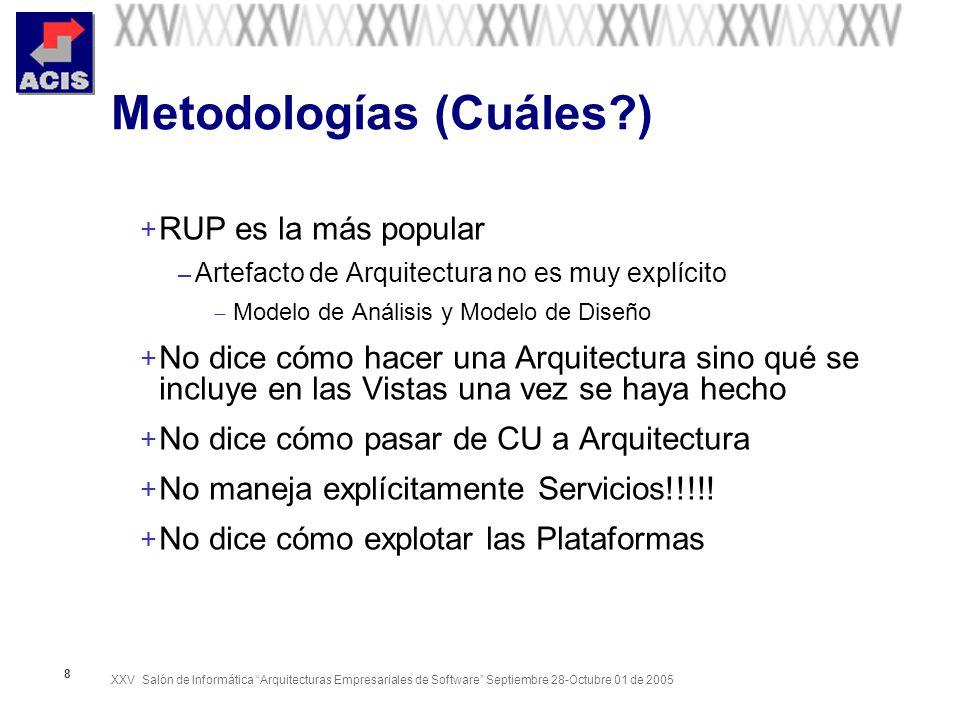 XXV Salón de Informática Arquitecturas Empresariales de Software Septiembre 28-Octubre 01 de 2005 8 Metodologías (Cuáles?) + RUP es la más popular – Artefacto de Arquitectura no es muy explícito Modelo de Análisis y Modelo de Diseño + No dice cómo hacer una Arquitectura sino qué se incluye en las Vistas una vez se haya hecho + No dice cómo pasar de CU a Arquitectura + No maneja explícitamente Servicios!!!!.