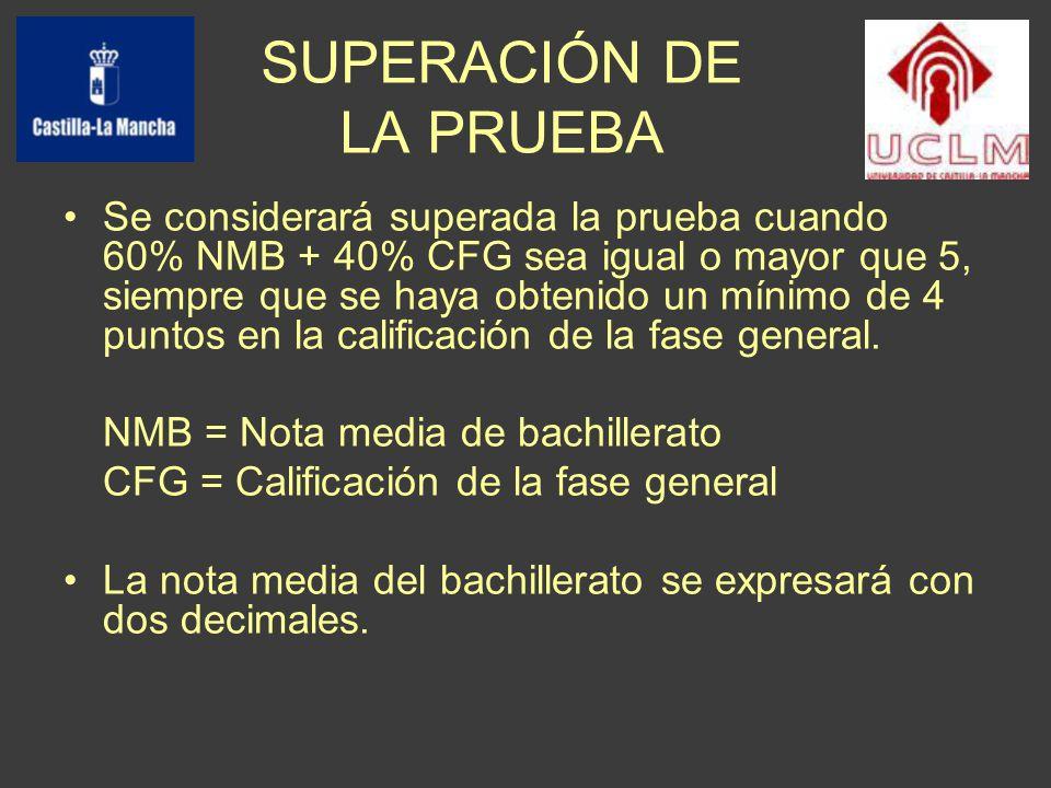 SUPERACIÓN DE LA PRUEBA Se considerará superada la prueba cuando 60% NMB + 40% CFG sea igual o mayor que 5, siempre que se haya obtenido un mínimo de 4 puntos en la calificación de la fase general.