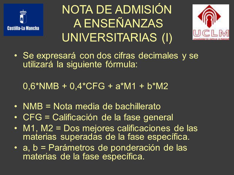 Se expresará con dos cifras decimales y se utilizará la siguiente fórmula: 0,6*NMB + 0,4*CFG + a*M1 + b*M2 NMB = Nota media de bachillerato CFG = Calificación de la fase general M1, M2 = Dos mejores calificaciones de las materias superadas de la fase específica.