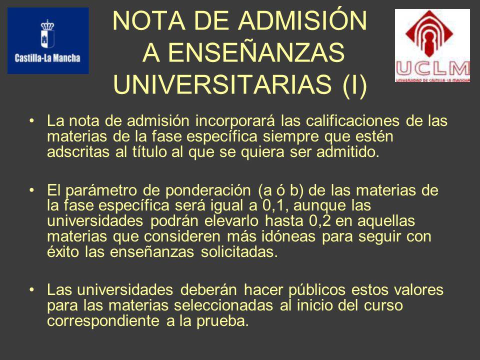 La nota de admisión incorporará las calificaciones de las materias de la fase específica siempre que estén adscritas al título al que se quiera ser admitido.
