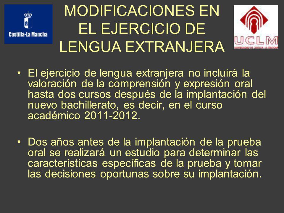 MODIFICACIONES EN EL EJERCICIO DE LENGUA EXTRANJERA El ejercicio de lengua extranjera no incluirá la valoración de la comprensión y expresión oral hasta dos cursos después de la implantación del nuevo bachillerato, es decir, en el curso académico 2011-2012.