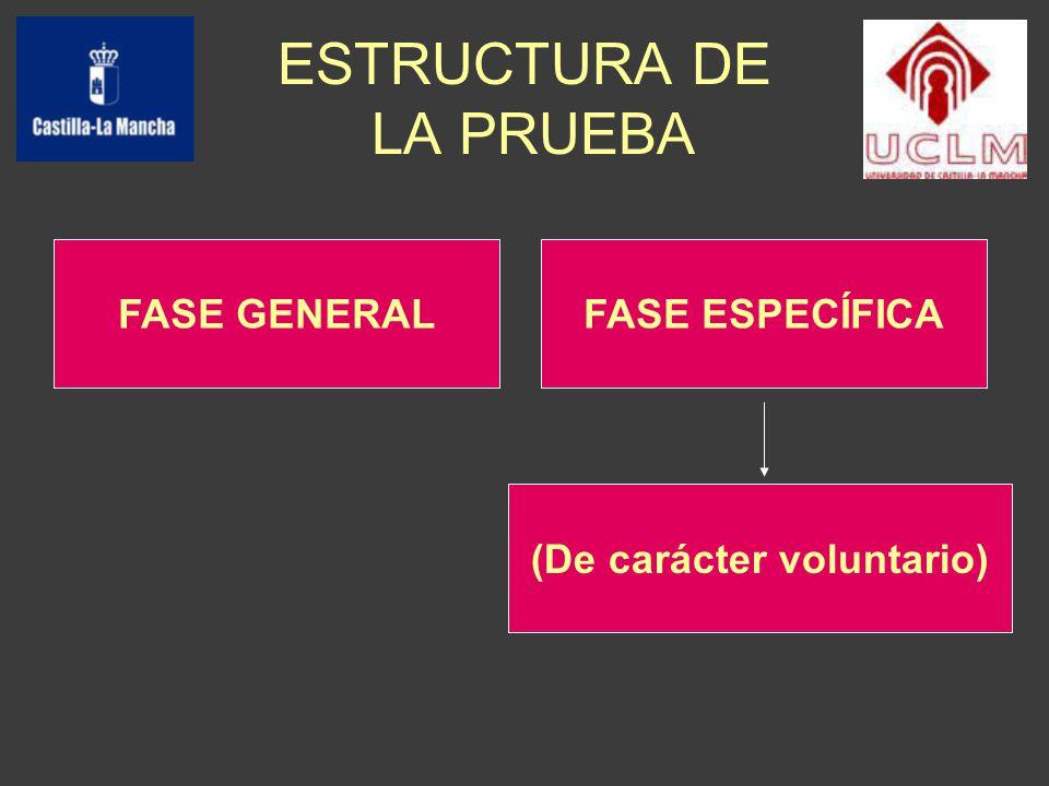 ESTRUCTURA DE LA PRUEBA FASE GENERALFASE ESPECÍFICA (De carácter voluntario)