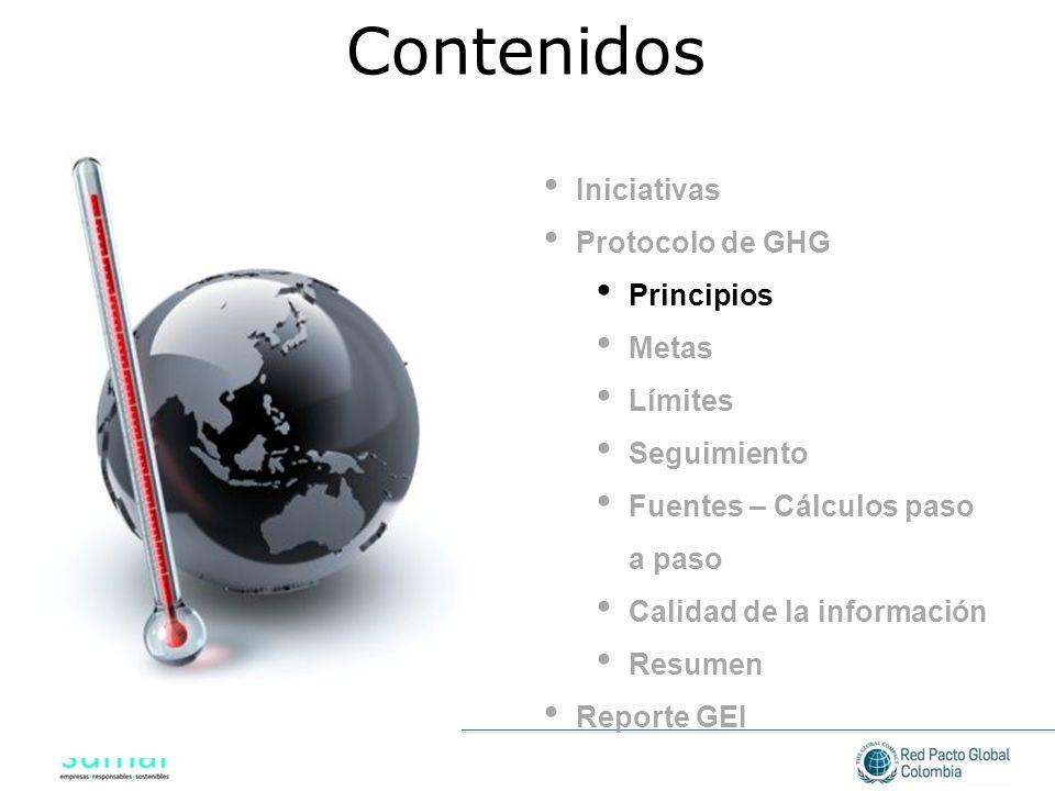Iniciativas Protocolo de GHG Principios Metas Límites Seguimiento Fuentes – Cálculos paso a paso Calidad de la información Resumen Reporte GEI Conteni
