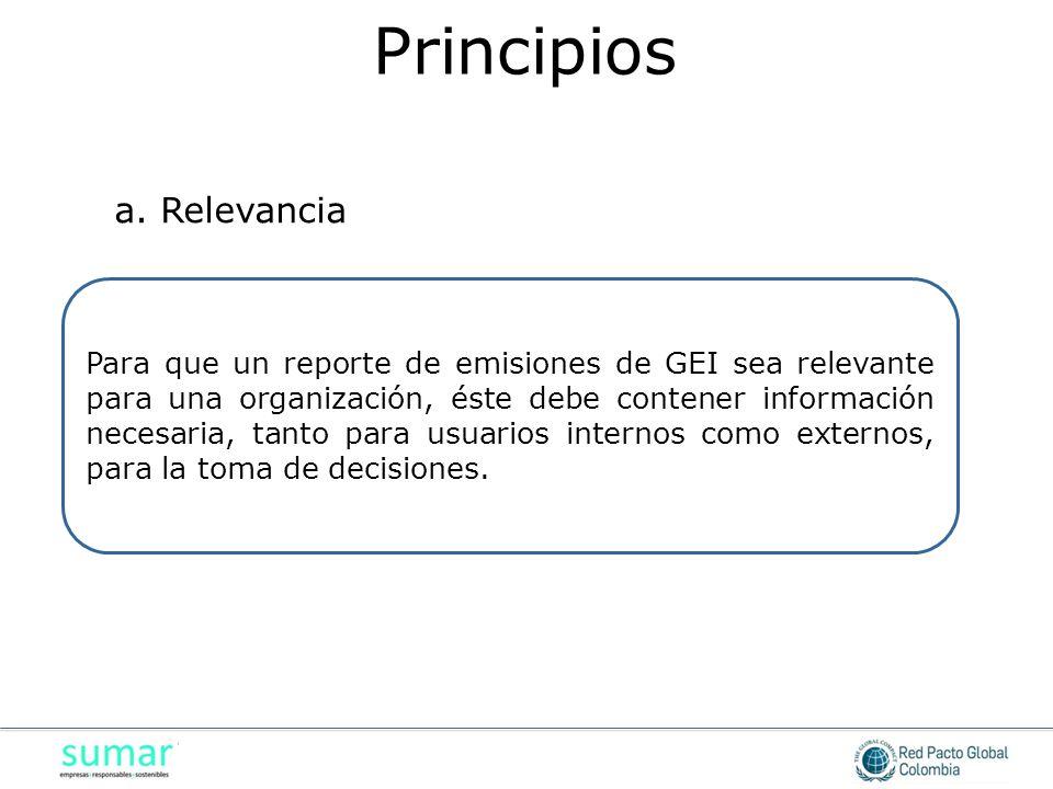 Para que un reporte de emisiones de GEI sea relevante para una organización, éste debe contener información necesaria, tanto para usuarios internos como externos, para la toma de decisiones.