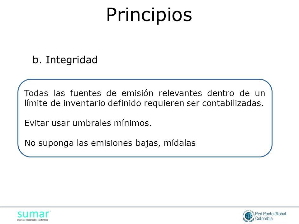 Todas las fuentes de emisión relevantes dentro de un límite de inventario definido requieren ser contabilizadas. Evitar usar umbrales mínimos. No supo