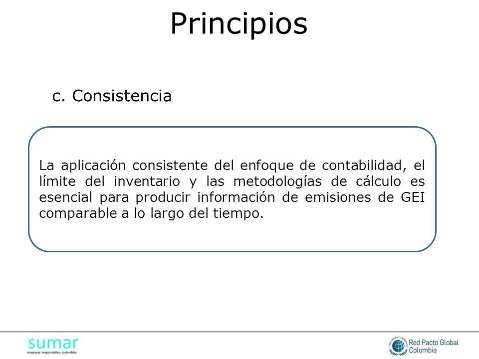 La aplicación consistente del enfoque de contabilidad, el límite del inventario y las metodologías de cálculo es esencial para producir información de
