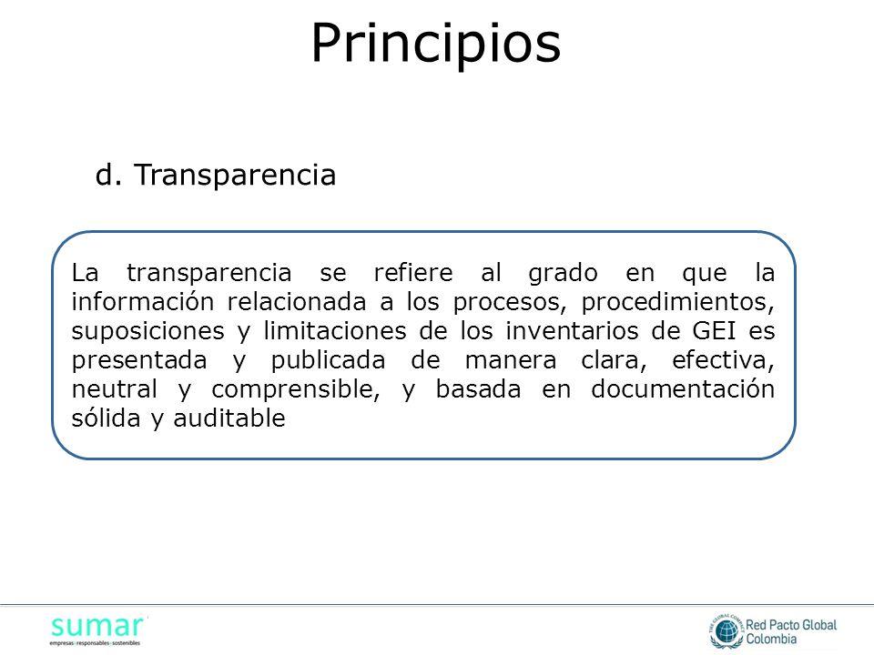 La transparencia se refiere al grado en que la información relacionada a los procesos, procedimientos, suposiciones y limitaciones de los inventarios