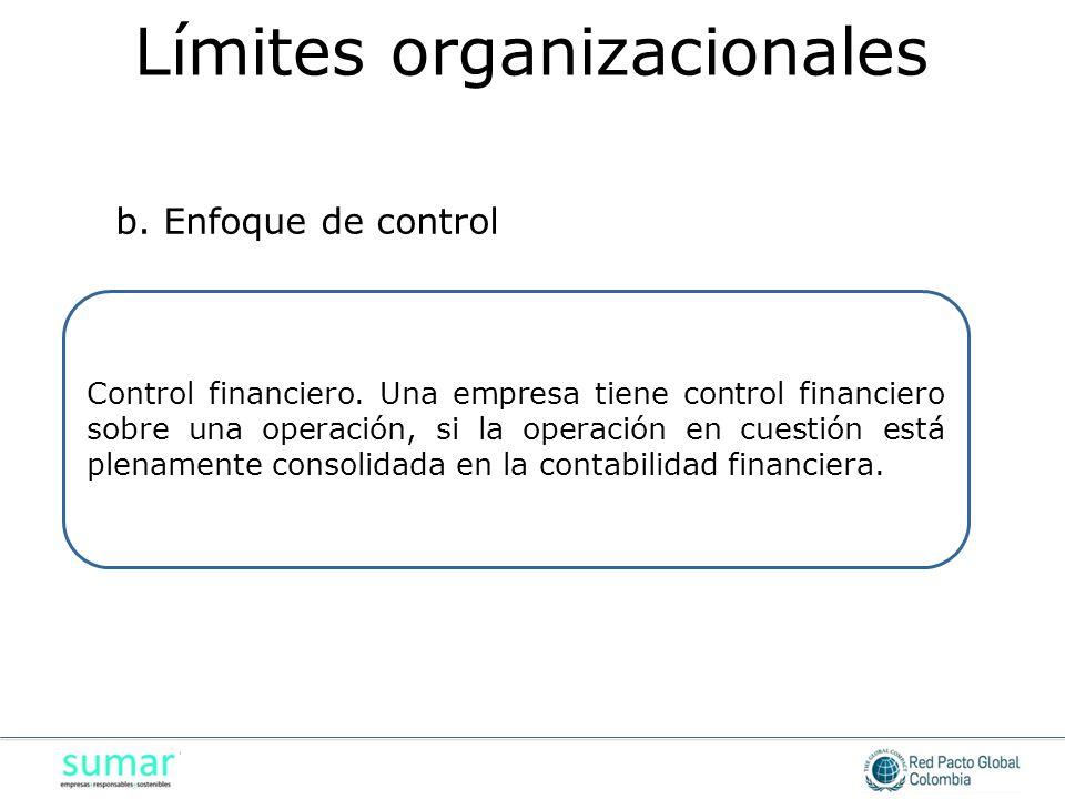 Control financiero. Una empresa tiene control financiero sobre una operación, si la operación en cuestión está plenamente consolidada en la contabilid